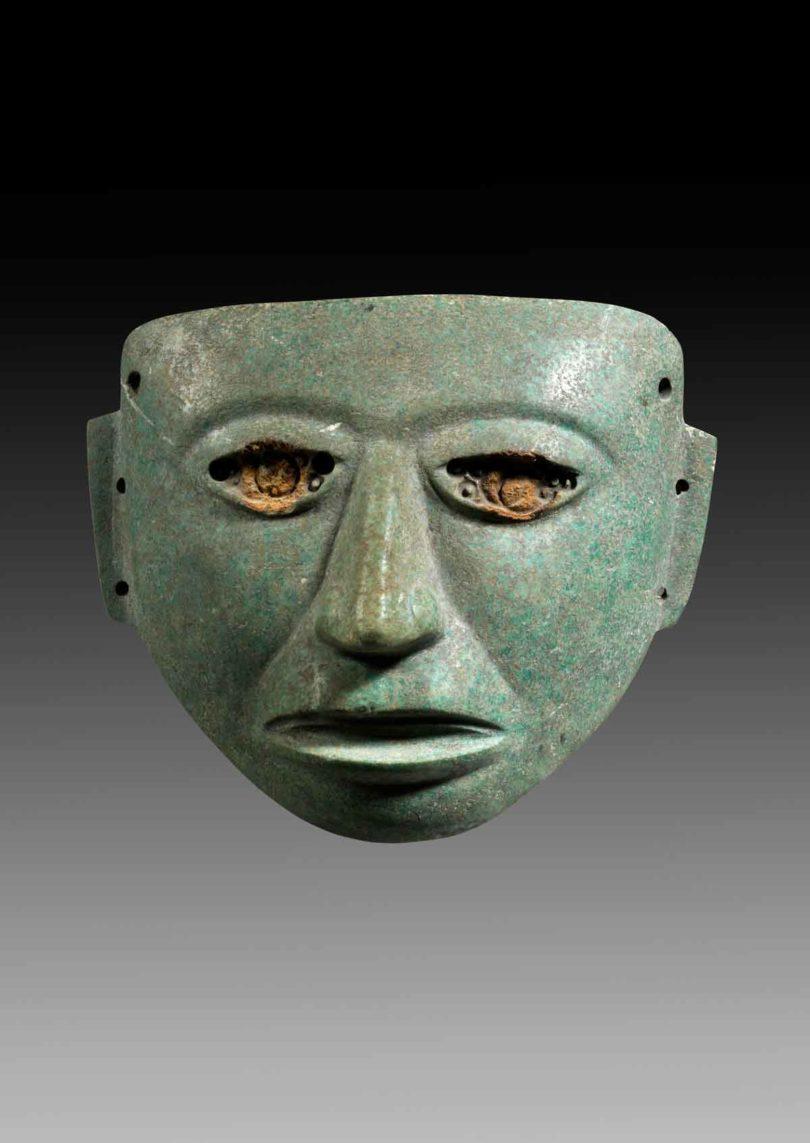 Gesichtsmaske aus grünem gemaserten Stein, Mexico, Teotihuacan, ca. 150-750 n.Chr., Taxe 25.000 Euro (Abb.: Gerhard Hirsch Nachf., München)