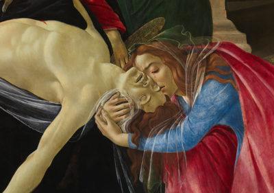Sandro Botticelli, Beweinung Christi (Detail: Klagefrau und Christus), um 1490/95. Zustand nach der Restaurierung. Alte Pinakothek, München