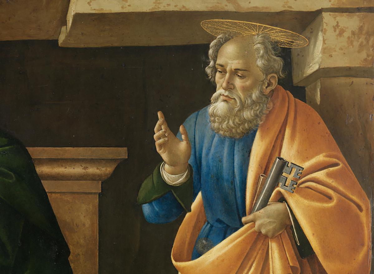 Sandro Botticelli, Beweinung Christi (Detail: Hl. Petrus), um 1490/95, Zustand nach der Restaurierung, Alte Pinakothek, München