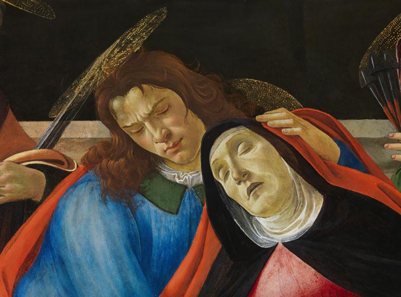 Sandro Botticelli, Beweinung Christi (Detail: Maria und hl. Johannes), um 1490/95, Zustand nach der Restaurierung, Alte Pinakothek, München