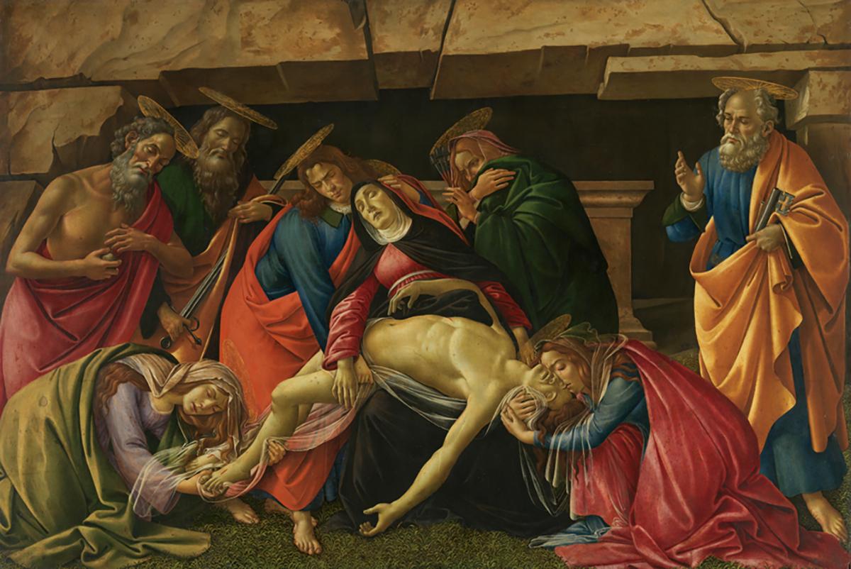 Sandro Botticelli, Beweinung Christi, um 1490/95, Sandro Botticelli, Beweinung Christi, um 1490/95, Zustand vor der Restaurierung