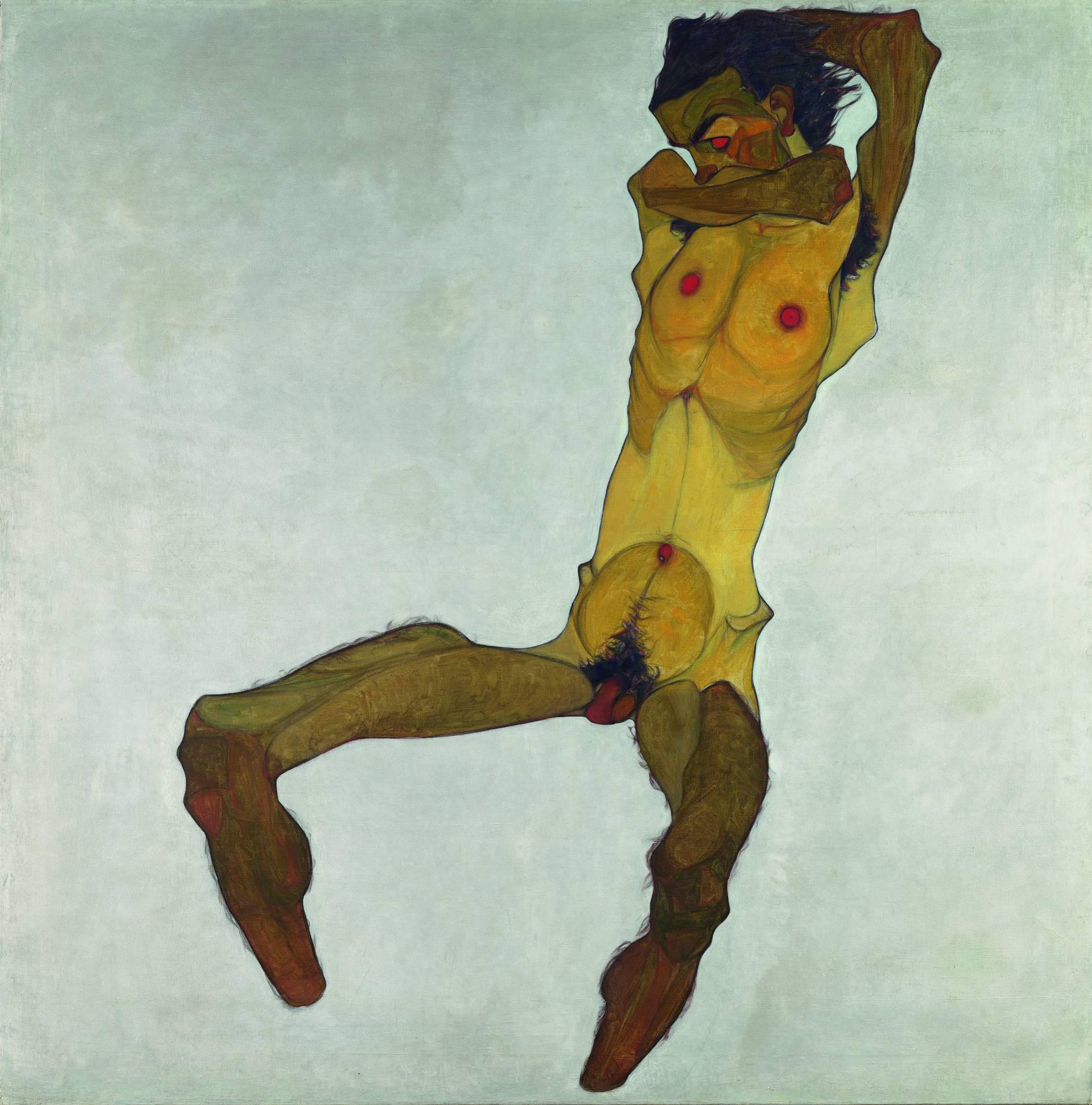 """Egon Schiele, """"Sitzender Männerakt (Selbstdarstellung)"""", 1910, Öl, Deckfarbe auf Leinwand, Foto: Leopold Museum Wien"""