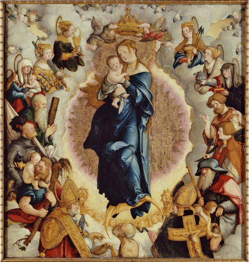 Meister von Meßkirch, Wildensteiner Altar: Madonna mit den vierzehn Heiligen des Zimmernschen Hauses (Mitteltafel), 1536, Staatsgalerie Stuttgart