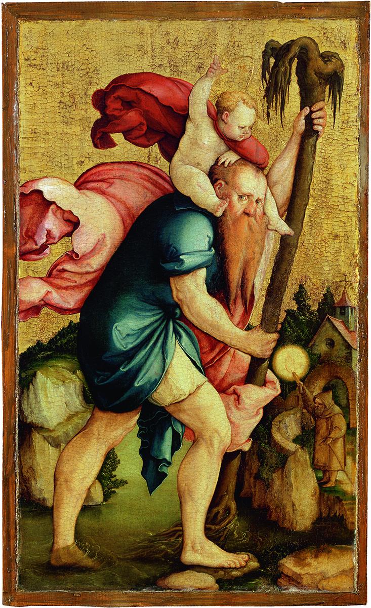 Der heilige Christophorus aus dem Falkensteiner Altar (nach 1530), Sammlung Würth, Schwäbisch Hall, Johanniterkirche – derzeit in der Staatsgalerie Stuttgart zu sehen