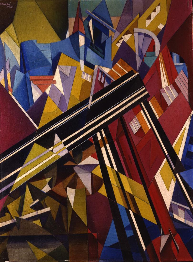 Moriz Melzer: Brücke-Stadt, 1921. Renate Kneifel / Stadmuseum Berlin, Reproduktion: Hans-Joachim Bartsch, Berlin