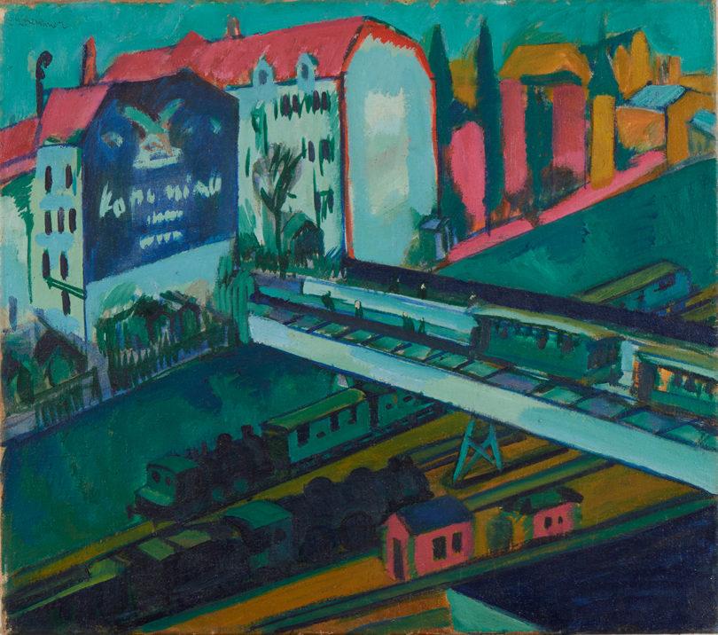 Ernst Ludwig Kirchner: Straßenbahn und Eisenbahn, 1914. @ Die Lübecker Museen, Museum Behnhaus Drägerhaus, Reproduktion: Michael Haydn