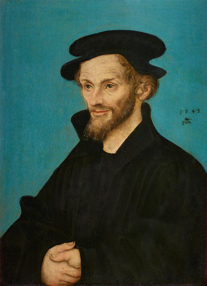 Philipp Melanchthon sofort zu erkennen – gemalt von Lucas Cranach d. Ä. und Werkstatt 1543. (Senger, Bamberg, Preis auf Anfrage).