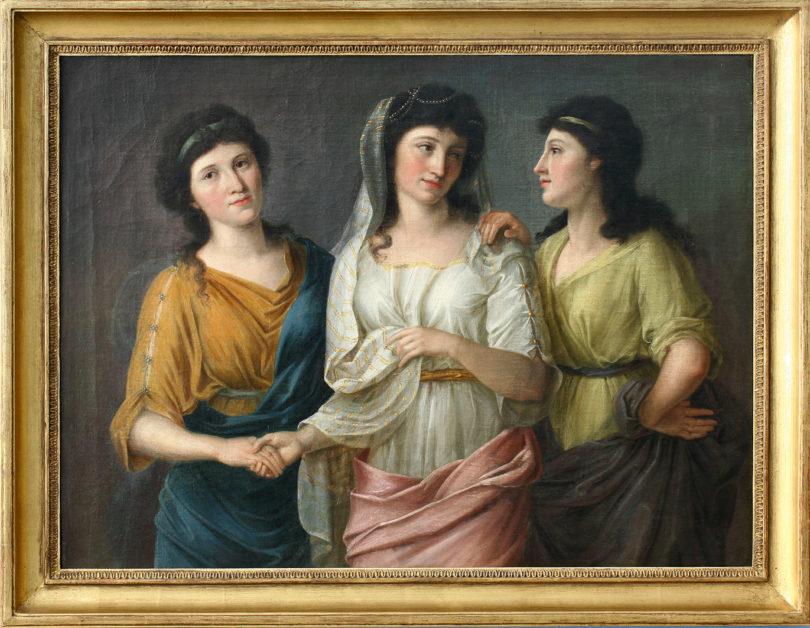 Ludovike Simanowic (1759 – 1827), Drei junge Frauen als Parzen, um 1790, Öl auf Leinwand, 59,5 x 80,5 cm Foto: ©Klaus Spindler Kunsthandel
