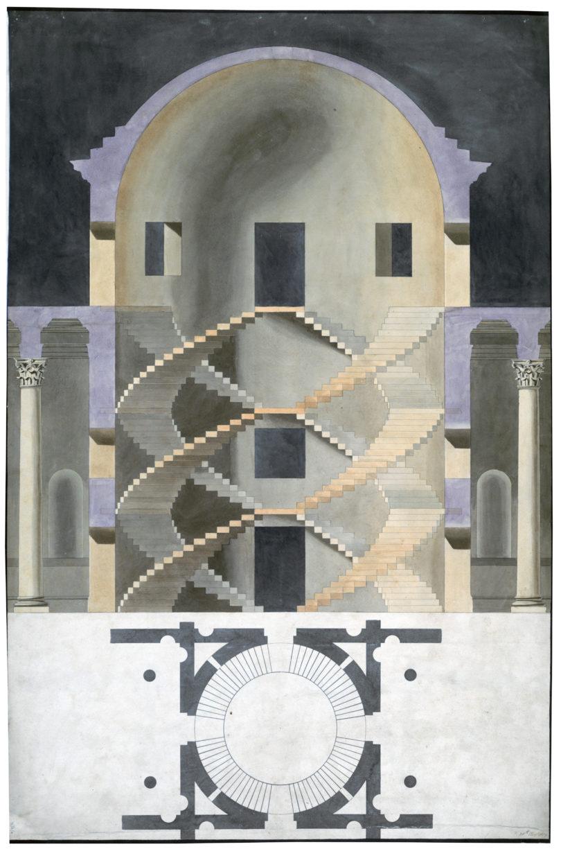 Charles Papendiek. Entwurf für eine Wendeltreppe, aus Palladios I quattro libri dell'architettura, August 1819 © Sir John Soane's Museum