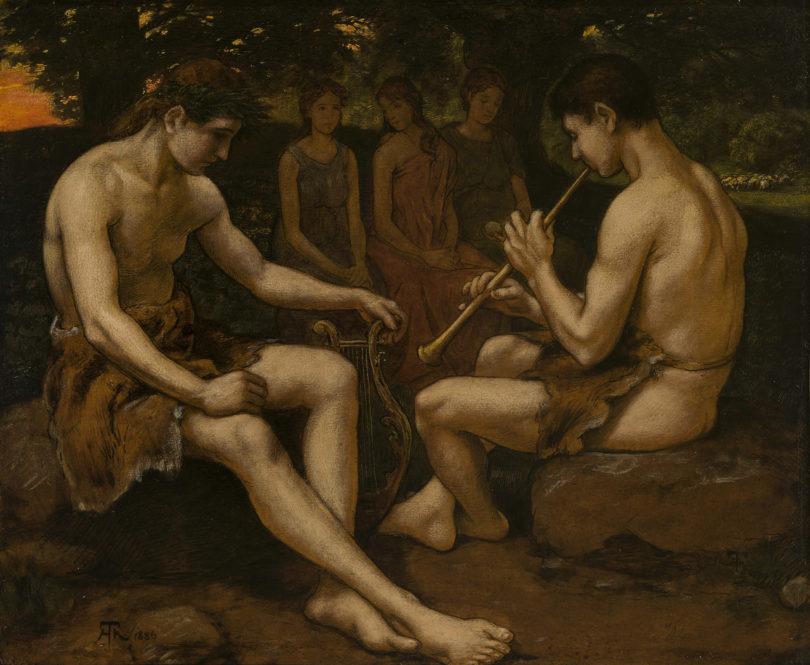 Hans Thoma (1839 Bernau – 1924 Karlsruhe) Apollon und Marsyas, 1886, Öl auf Holz, 45 x 55 cm, monogr. u. dat., bei Kunkel Fine Art
