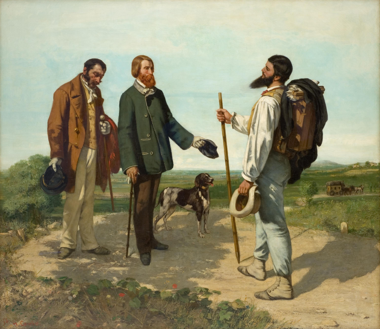 Gustave Courbet Die Begegnung oder Bonjour Monsieur Courbet, 1854 Öl auf Leinwand, 132 x 150,5 cm Musée Fabre, Montpellier © Musée Fabre de Montpellier Méditerranée / Frédéric Jaulmes