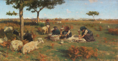 Stefano Bruzzi, Die Schafschur, um 1885, Taxe 18.000, Foto: Ketterer