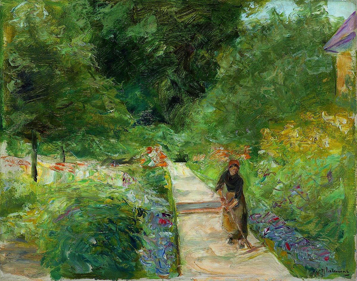 Max Liebermann, Der Nutzgarten in Wannsee nach Westen, auf dem Weg eine Gärtnerin, 1924 © Kunstsammlung Zwickau, Foto: Fotoatelier Lorenz, Zschorlau