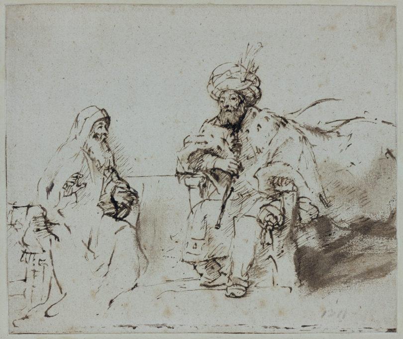 Rembrandt Harmensz. van Rijn Nathan ermahnt David, um 1660-1663 Feder in Braun, stellenweise gewischt, graubraun laviert, auf Papier © Staatliche Museen zu Berlin, Kupferstichkabinett / Jörg P. Anders