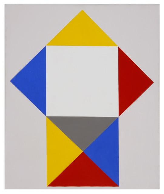 Anton Stankowski Aufgeklappt auf Weiß, 1989 Acryl auf Leinwand, 90 x 65 cm, Foto: Museum für Konkrete Kunst, Ingolstadt