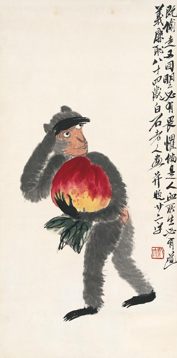 Der Affe hat einen Pfirsich gestohlen, Album der chinesischen Tierkreiszeichen, 9 von 12, Qi Baishi, Farben auf Papier, 68×33.5 cm, 1944, Sammlung der Kunstakademie Peking © Beijing Fine Art Academy