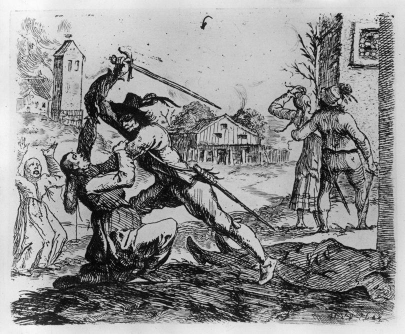 Hans Ulrich Franck, Landsknechte in einem eroberten Dorf, 1656, Radierung, (c) Staatliche Museen zu Berlin, Kupferstichkabinett