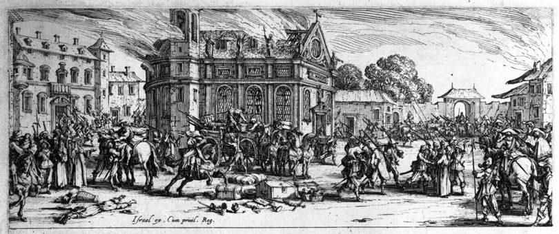 Jacques Callot, Verwüstung eines Klosters (Les misères et les malheurs de la guerre, Blatt 6) 1633, Radierung (c) Staatliche Museen zu Berlin, Kupferstichkabinett