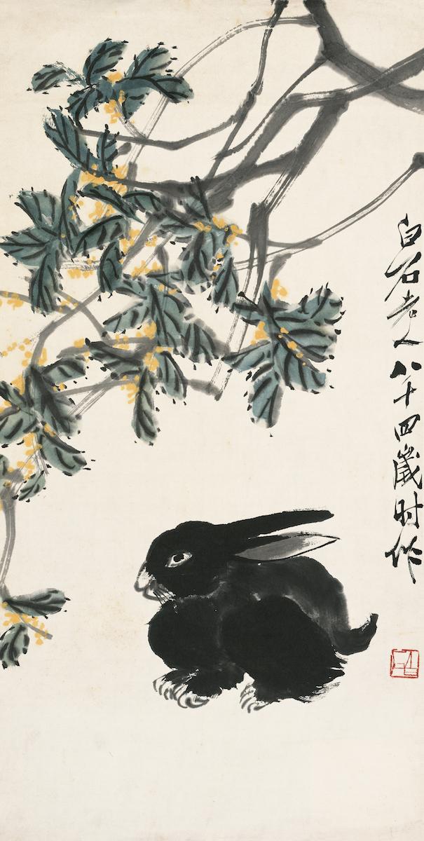 Duftblütenbaum und Hase, Album der chinesischen Tierkreiszeichen, 4 von 12, Qi Baishi, Farben auf Papier, 68×34.5 cm, 1944, Sammlung der Kunstakademie Peking © Beijing Fine Art Academy