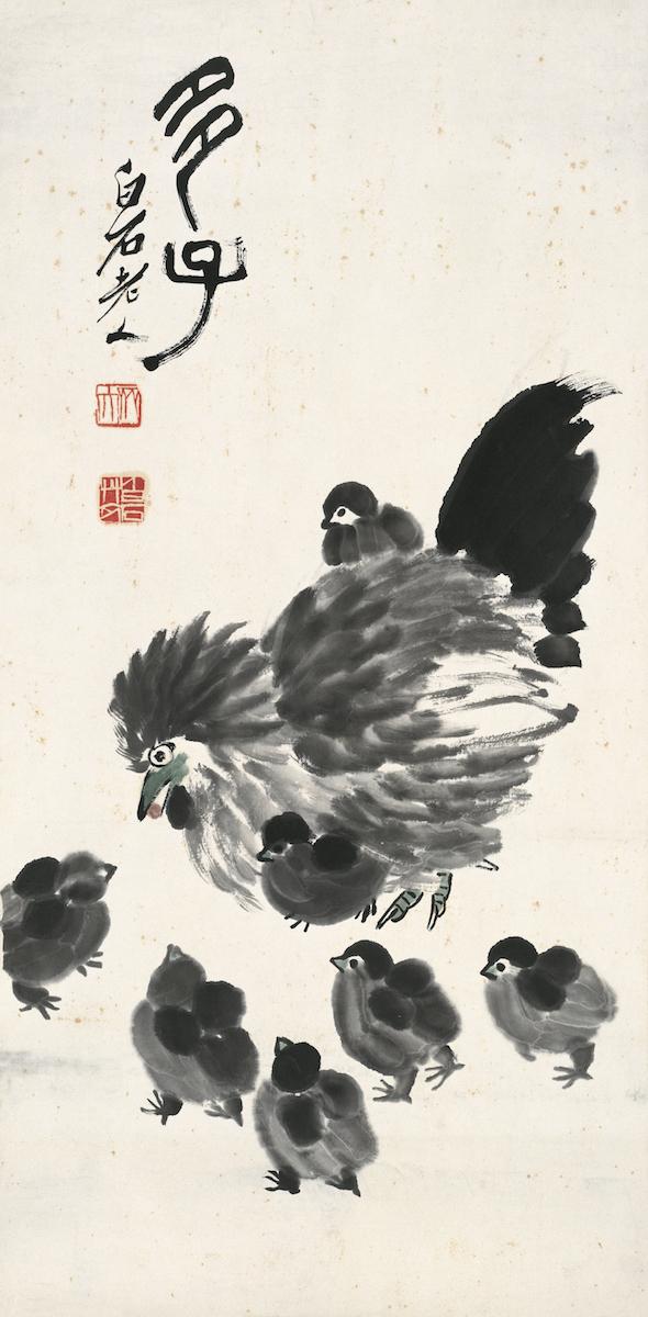 Henne und Küken, Album chinesischer Tierkreiszeichen, 10 von 12, Qi Baishi, Chinesische Tusche auf Papier, 68.3×33.5 cm, 1943, Sammlung der Kunstakademie Peking © Beijing Fine Art Academy