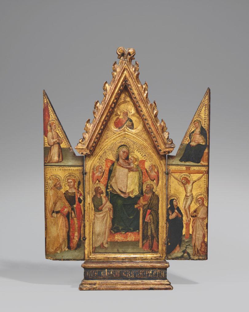 Meister des Tobias (Maestro di Tobia) tätig in Florenz ca. 1345 -1370 Klappaltar mit Thronender Muttergottes Tempera auf Holz. 46,5 x 28 cm (Mittelstück) 46,5 x 11 cm (Flügel), Foto: Kunsthaus Lempertz