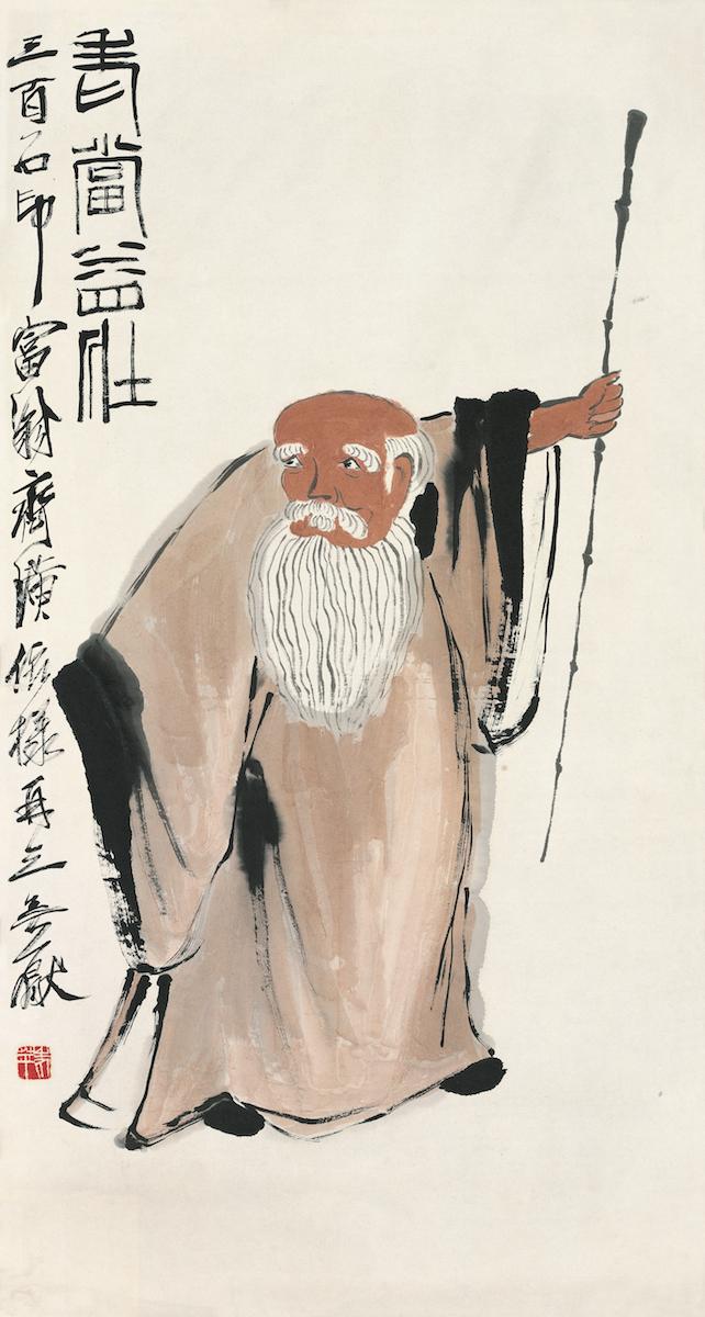 Mit dem Alter stärker, Qi Baishi, Farben auf Papier, 91×48 cm, nicht datiert, Sammlung der Kunstakademie Peking © Beijing Fine Art Academy