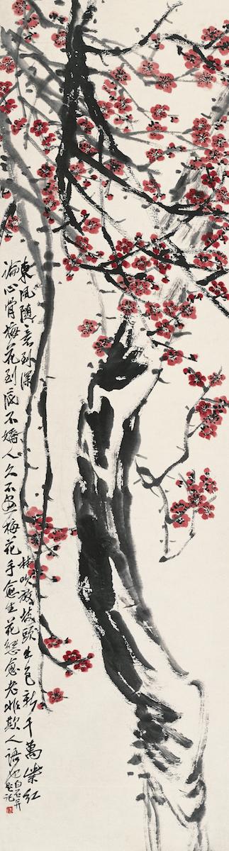 Rote Pflaumenblüte, Qi Biashi, Farben auf Papier, 176.5×47.5 cm, nicht datiert, Sammlung der Kunstakademie Peking © Beijing Fine Art Academy