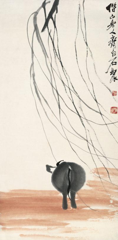 Rückkehr der Kuh im Sonnenuntergang, Album der chinesischen Tierkreiszeichen, 2 von 12, Qi Baishi, Farben auf Papier, 67.5×33 cm, 1938, Sammlung der Kunstakademie Peking © Beijing Fine Art