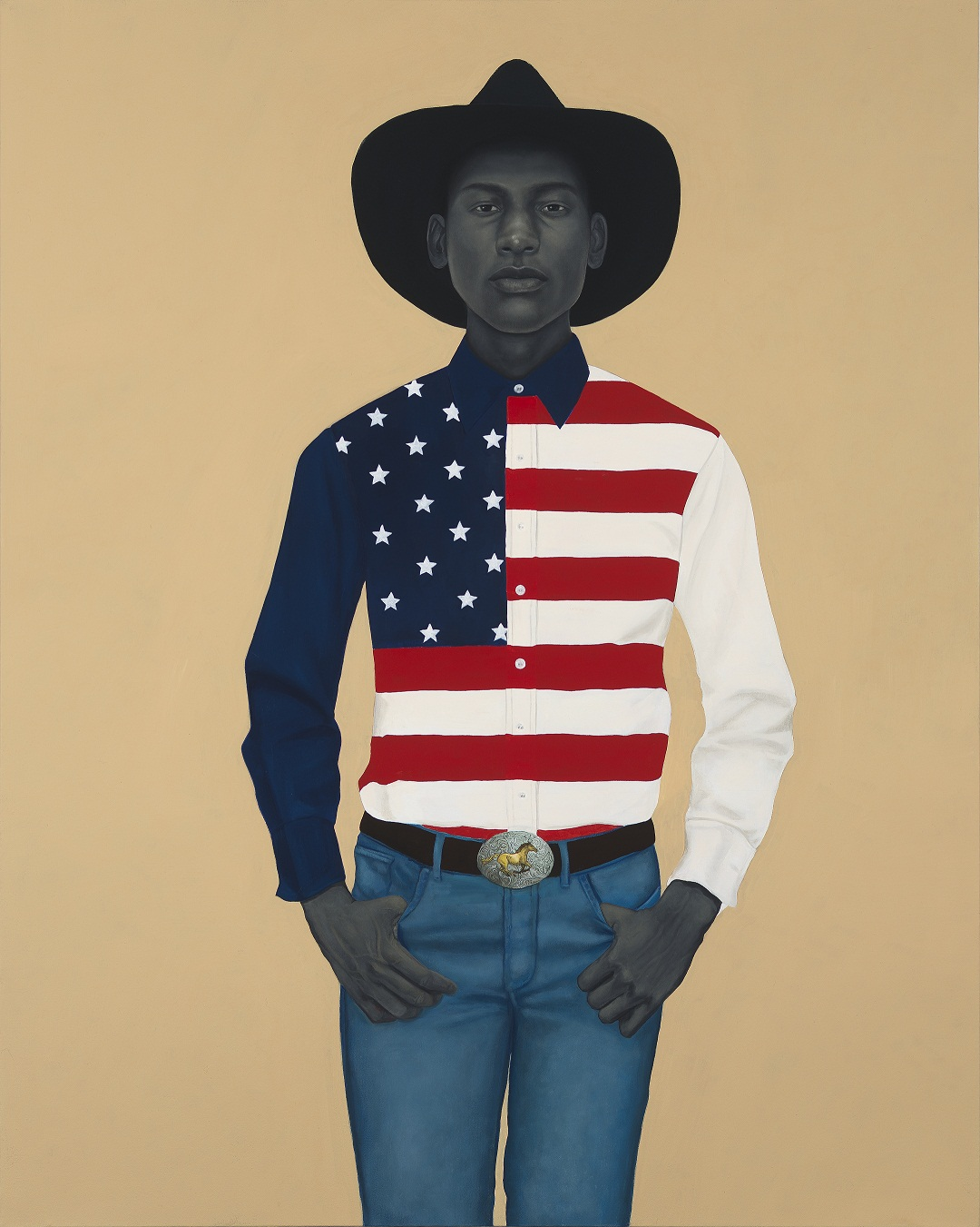 Amy Sherald, What's precious inside of him does not care to be known by the mind in ways that diminish its presence (All American), 2017. Oil on canvas, 54 x 43 inches. Private collection. Courtesy the artist and Monique Meloche Gallery, Chicago
