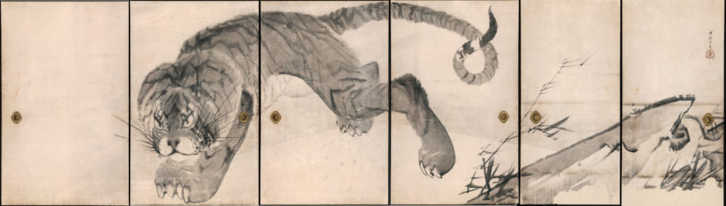 """Nagasawa Rosetsu, """"Tiger"""", Detail aus einer Reihe von sechs Schiebetüren, Tusche/Papier, 1786, Muryōji, Kushimoto, Foto: Ueli Alder, Museum Rietberg, Zürich"""