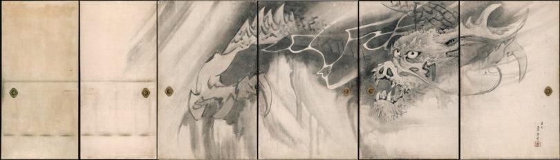 """Nagasawa Rosetsu (1754–1799), """"Drache"""", Detail aus einer Reihe von sechs Schiebetüren, Tusche/Papier, 1786, Muryōji, Kushimoto"""