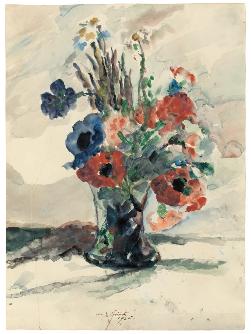 "Lovis Corinth, ""Vase mit Blumen"", 1925, Aquarell auf festem Velin, 63,5 × 47,6 cm, Foto: Grisebach"