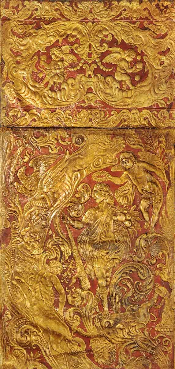 Goldledertapete, Amsterdam, um 1660, Deutsches Ledermuseum, Offenbach, Foto: C.Perl-Appel/DLM