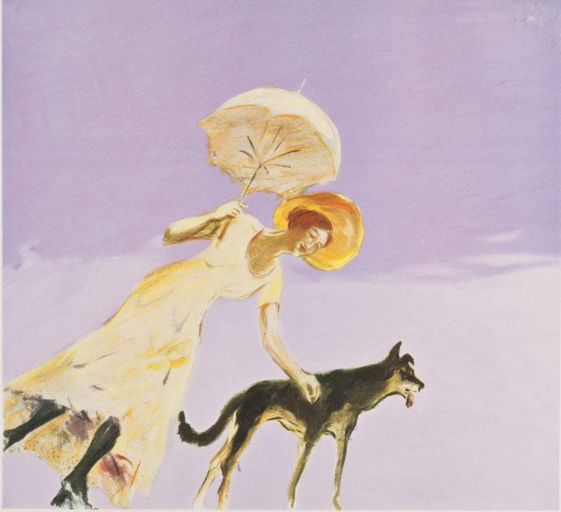 Max Slevogt, Wandmalereien in Neu-Cladow, Frau mit Sonnenschirm und Hund, 1921 © Landesmuseum Hannover