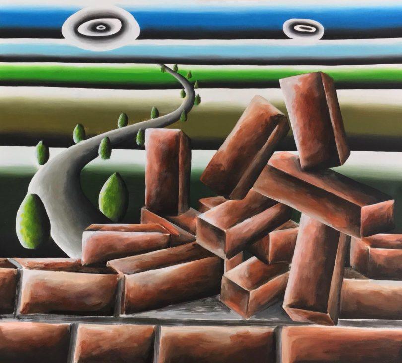 Andreas Schulze: Backsteine mit Landschaft, 2018, Acryl auf Passepartout, 64,9 x 74,5 cm, Foto: Andreas Schulze / Galerie MaxWeberSixFriedrich