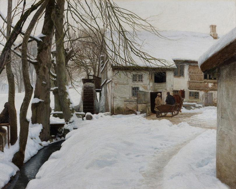 """Holger Møller, """"Wassermühle"""", 1896, Öl auf Leinwand, Nikolaus Fink Kunsthandel, Kunst&Antiquitäten, Foto: Nikolaus Fink Kunsthandel"""