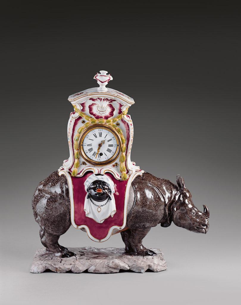 Rhinozeros-Uhr, Modell: Frank Anton von Verschaffelt, Porzellanmanufaktur Frankenthal, um 1765–1770, Foto: Ulrich Pfeuffer © Bayerische Schlösserverwaltung