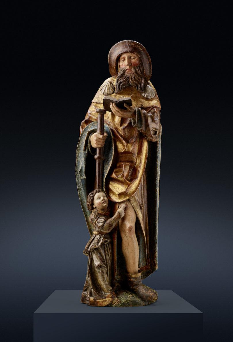 Heiliger Rochus, Franken, um 1500, Senger Bamberg Kunsthandel, Highlights, Foto: Senger Bamberg Kunsthandel