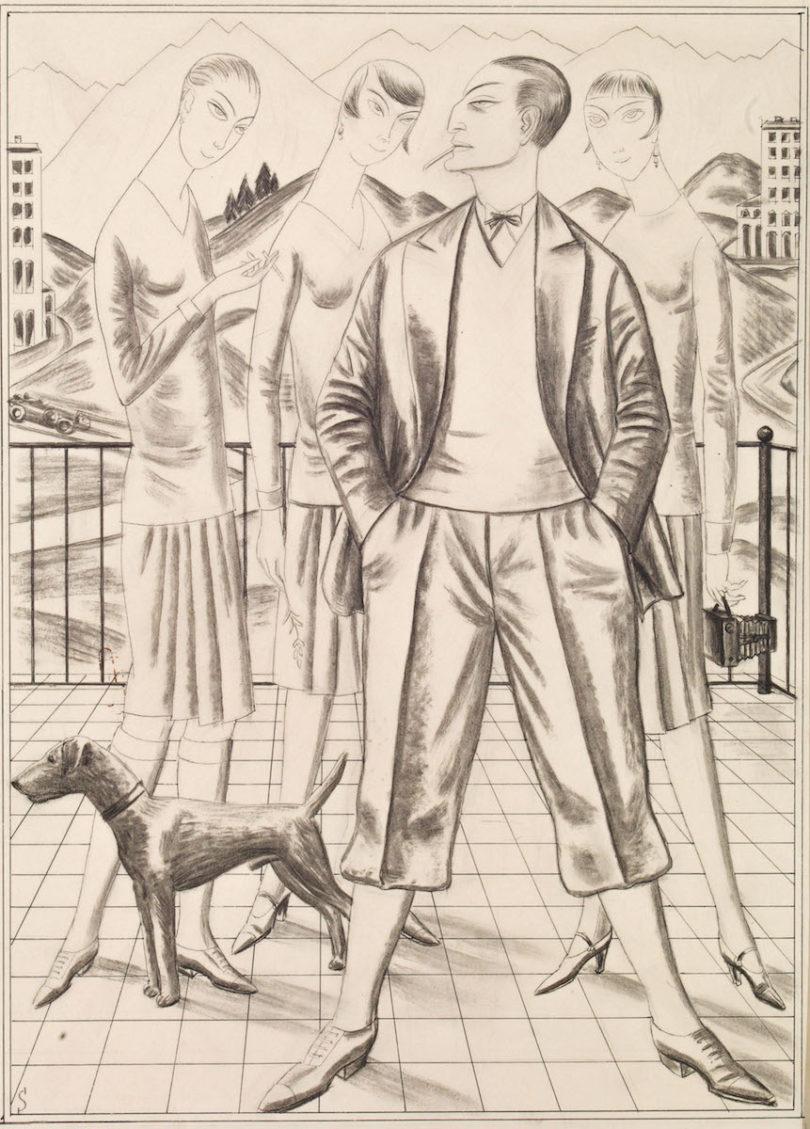 """Erich Schilling, """"Der Schauspieler"""", 1926, Kohle-Tusche-Zeichnung, Susanne Bauer, Kunst&Antiquitäten, Foto: Susanne Bauer"""