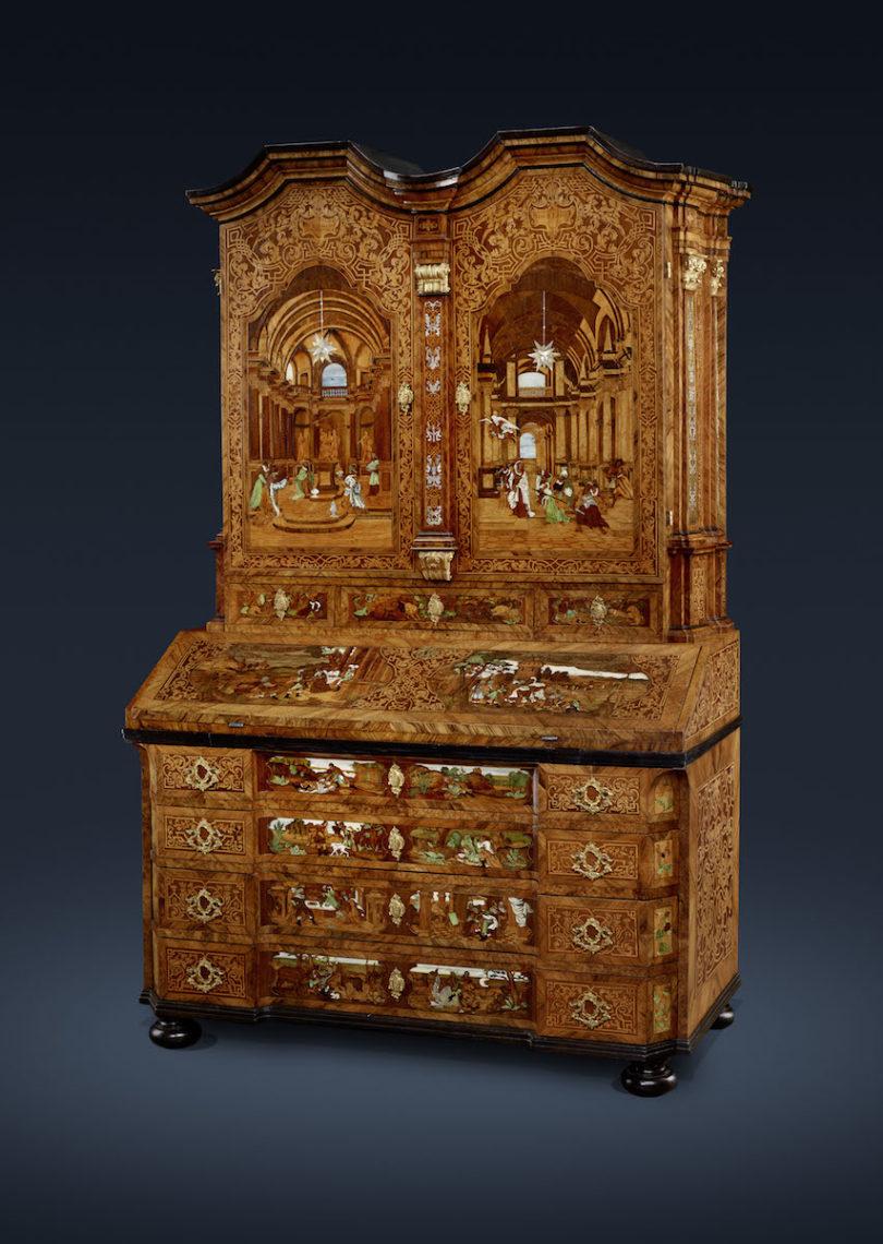 Prunk-Aufsatzsekretär, Prag, um 1725/ 1730, Fichtenholz, Senger Bamberg Kunsthandel, Highlights, Foto: Senger Bamberg Kunsthandel