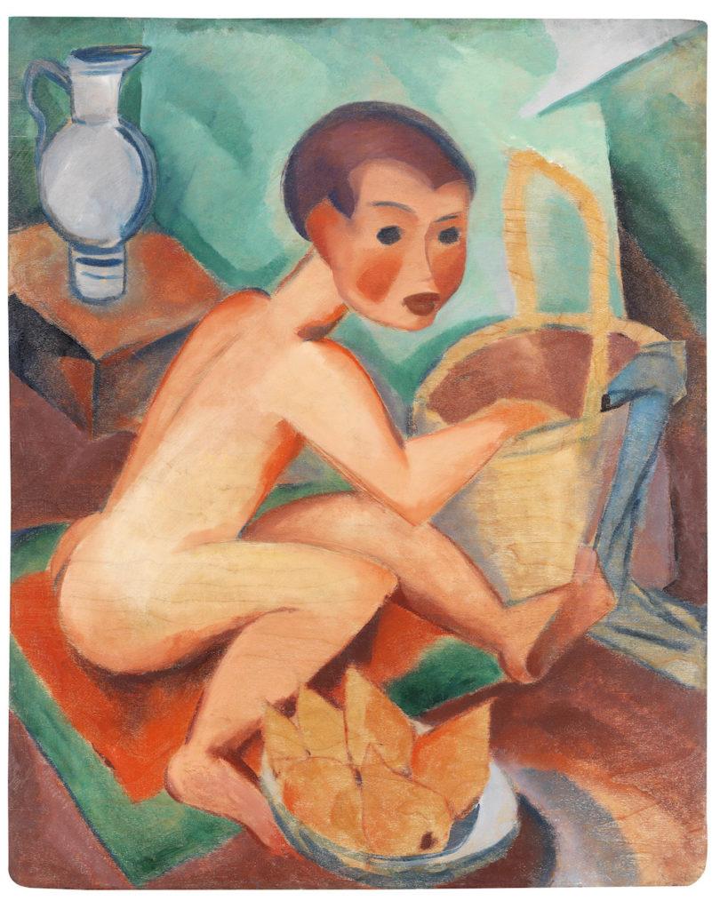 Dorothea Maetzel-Johannsen, Akt mit Korb und Birnen, 1918, Verso Gemälde von Emil Maetzel, um 1955, Öl auf Holz, Foto: Kunsthandel Henneken