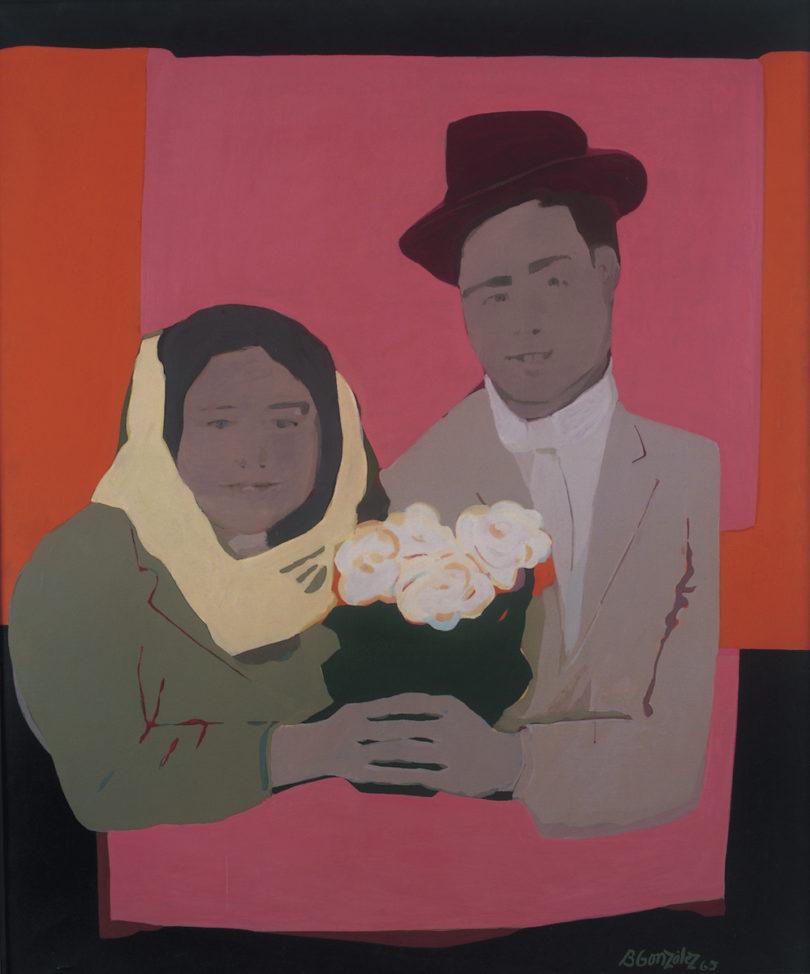 Beatriz González, Los Suicidas del Sisga No 2, 1965, Öl auf Leinwand, Courtesy die Künstlerin, Óscar Monsalve und Museo La Tertulia, Cali, Sammlung Museo La Tertulia, Cali