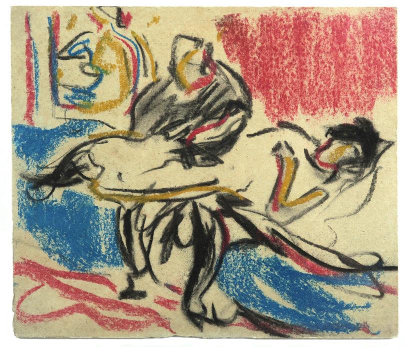 Ernst Ludwig Kirchner, Boudoir-Szene, Kreide und Kohle auf Karton, Foto: Galerie Utermann