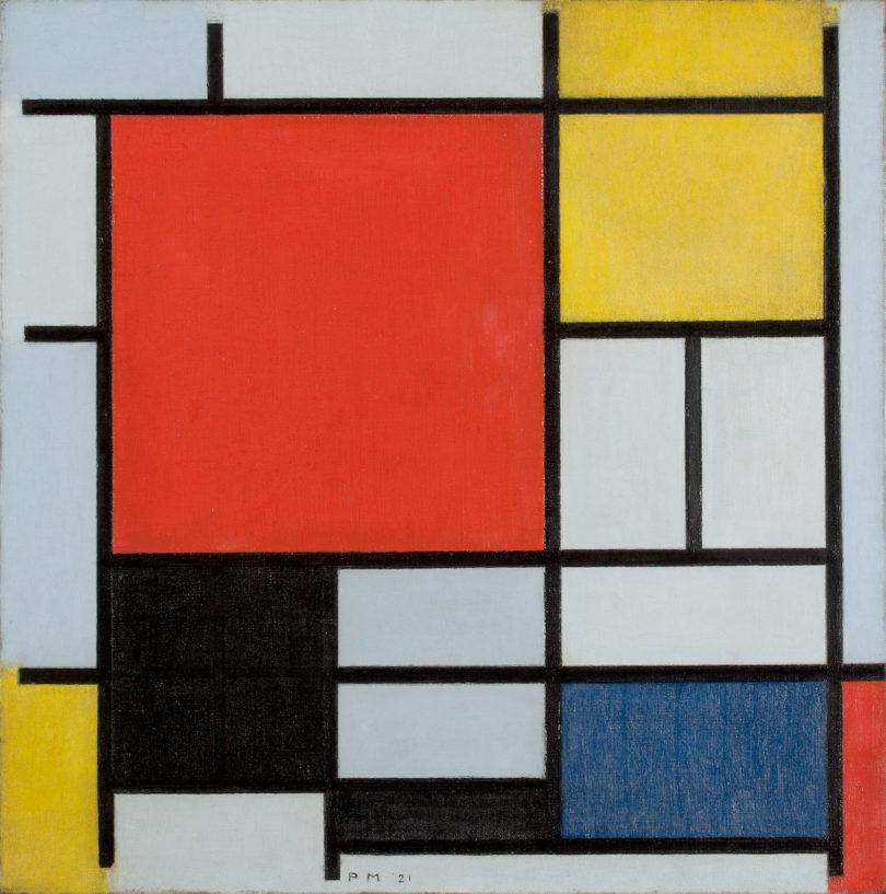 Piet Mondrian, Komposition mit großer roter Fläche, Gelb, Schwarz, Grau und Blau, 1921, Foto: Sammlung Gemeentemuseum Den Haag, Niederlande