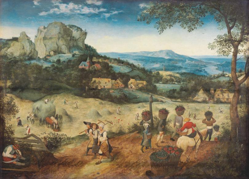Pieter Bruegel d. Ä.,Die Heuernte, 1565, Eichenholz, 114 × 158 cm, Prag, The Lobkowicz Collections, Palais Lobkowicz, Prager Burg, © Prag, The Lobkowicz Collections