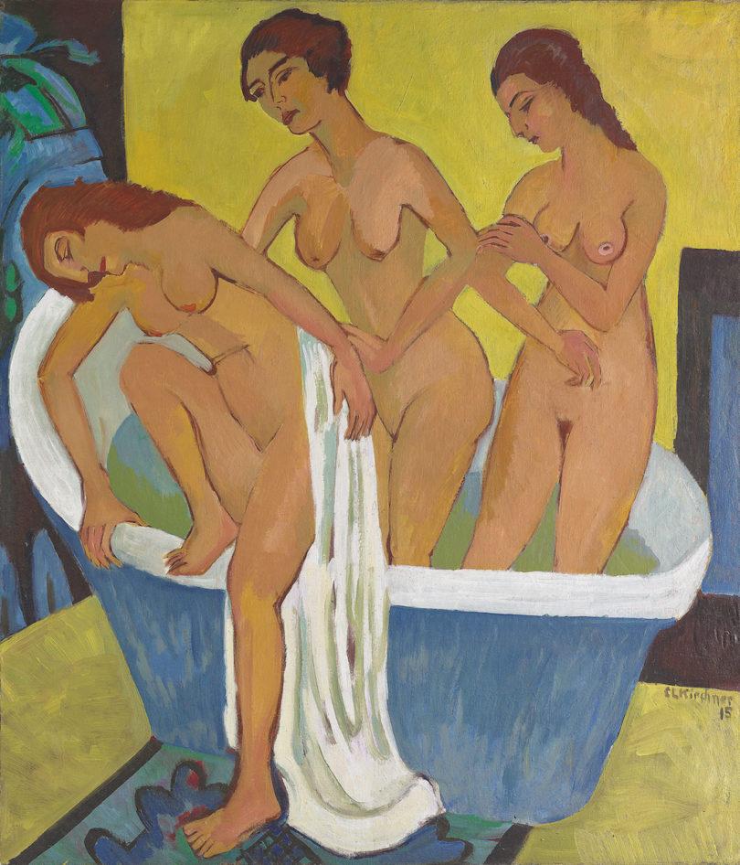 """Ernst Ludwig Kirchner, """"Badende Frauen"""", (Triptychon Mittelbild), Öl auf Leinwand, 1915/25, Kirchner Museum Davos, Abb: Kirchner Museum Davos, Foto: Stefan Bösch"""