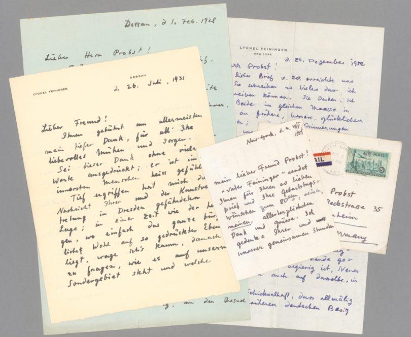 Lyonel Feininger am 24. August 1952 aus New York an den Desdener Kunsthändler Rudolf Probst. (Briefe mit Umschlägen, 3000 Euro) Foto: Stargardt