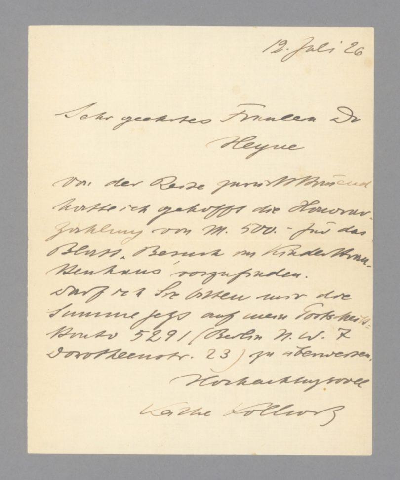 """Käthe Kollwitz am 12. Juli 1926 an """"Dr. Heyne"""" (250 Euro) Foto: Stargardt"""