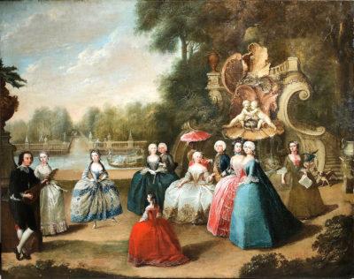 """Barbara Rosina de Gasc, """"Markgraf Friedrich Heinrich und Markgräfin Leopoldine Marie von Brandenburg Schwedt mit tanzender Barbarina"""", um 1747, Foto: Senger Kunsthandel, Bamberg"""