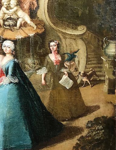 """Detail aus Barbara Rosina de Gasc, """"Markgraf Friedrich Heinrich und Markgräfin Leopoldine Marie von Brandenburg Schwedt mit tanzender Barbarina"""", um 1747, Foto: Senger Kunsthandel, Bamberg"""